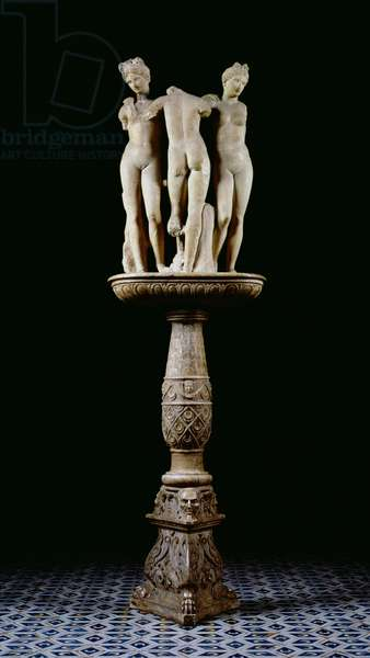 The Three Graces, on a 15th century base (marble)
