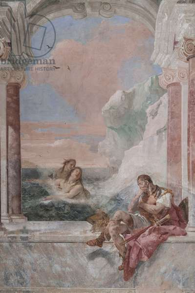 """Palazzina (Small Building): view of the first room and its frescoes representing episodes from the Iliad: """"Achilles in tears while his mother Thetis emerges from the sea to console him"""", 1756-57 (fresco)"""