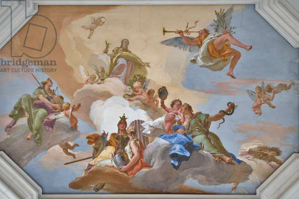 Triumph of Glory announced by Fame standing among the Cardinal Virtues, 1743 (fresco)