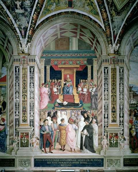 Pope Pius II (1405-64) Canonizes St. Catherine of Siena, 1503-08 (fresco)