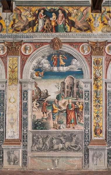 The astrological sign of Gemini with the Argonauts, goddess Fortuna, Leda and the swan, Chamber of the Zodiac (Camera dello Zodiaco), 1515