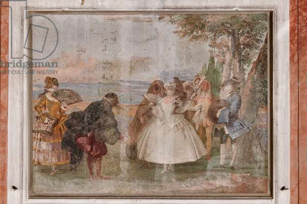 """Guest Lodgings, the Room of the Carnival Scenes: """"Pantalone and Columbina"""", a scene with masks, 1757 (fresco)"""