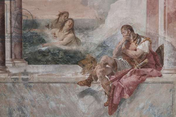 """Palazzina (Small Building): view of the first room and its frescoes representing episodes from the Iliad: """"Achilles in tears while his mother Thetis emerges from the sea to console him"""", detail, 1756-57 (fresco)"""