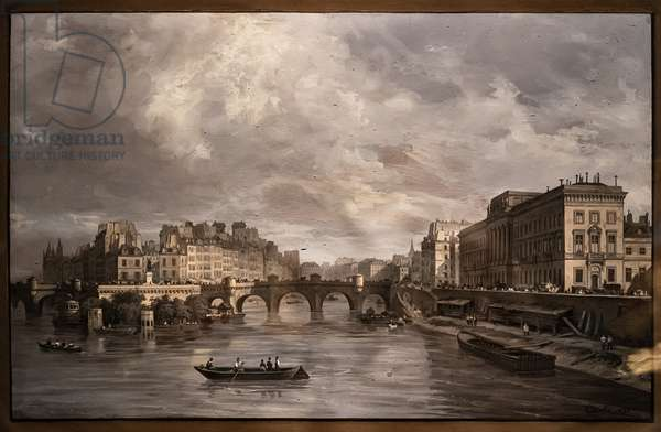 View of the the Pont Neuf, 1830 (tempera on paper)