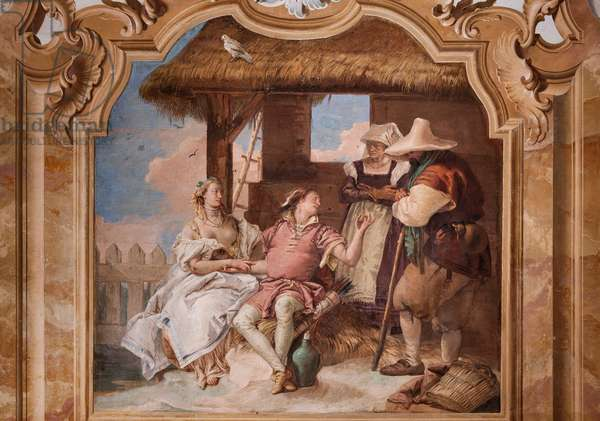 """Palazzina (Small Building): second room or room of Ariosto with frescoes representing episodes from """"Orlando Furioso"""": """"Angelica and Medoro in the shepherds' house"""", 1756-57 (fresco)"""