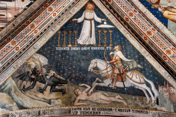 Christ, a knight and a demon, detail,  1357-64 (fresco)
