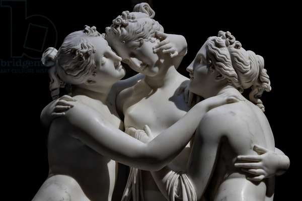 The three Graces, detail of the faces and the embrace, 1812-17 (marble)