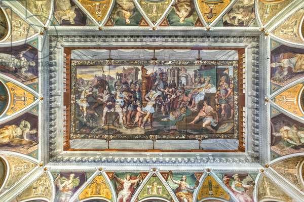 View of the valut of the Room of Ulysses, Palazzo della Prefettura, Bergamo, Italy (photo)