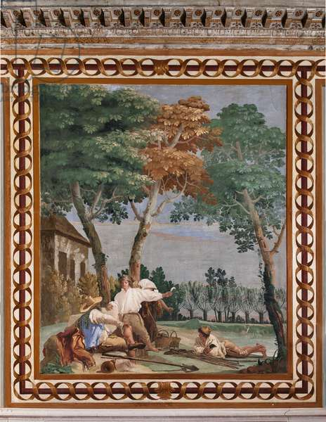 """Guest Lodgings, Room of the Rural Scenes: """"The Peasant's Rest"""", 1757 (fresco)"""