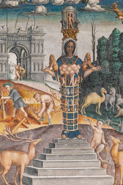The astrological sign of Leo with Diana, two deers and a satyr as on a sarcophagus in Bleinhaim Palace; in the background the Arco degli Argentari in Rome and Hercules struggling against the Nemean lion, Chamber of the Zodiac (Camera dello Zodiaco), detail of 2384725, 1515