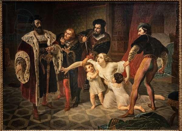 The sacrifice of Ines Di Castro (Ines Di Castro's Death) (oil on canvas)