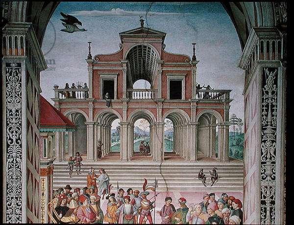 Aeneas Sylvius Piccolomini (1405-64) is Crowned Poet Laureate by Frederick III (1415-93) in 1442, 1503-08 (fresco) (background detail)