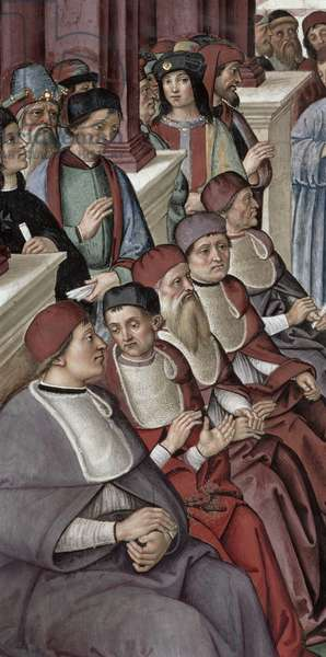 Seated Cardinals to the left of the Papal Throne, detail from 'Aeneas Sylvius Piccolomini (1405-64) Makes an Act of Submission to Pope Eugenius IV (1383-1447) 7th February 1447', 1503-08 (fresco)