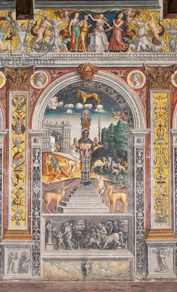 The astrological sign of Leo with Diana, two deers and a satyr as on a sarcophagus in Bleinhaim Palac; in the background the Arco degli Argentari in Rome and Hercules struggling against the Nemean lion, Chamber of the Zodiac (Camera dello Zodiaco), 1515