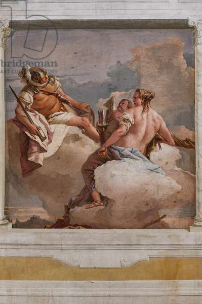 """Guest Lodgings, the Room of the Olympus: """"Mars, Venus and Eros"""", 1757 (fresco)"""