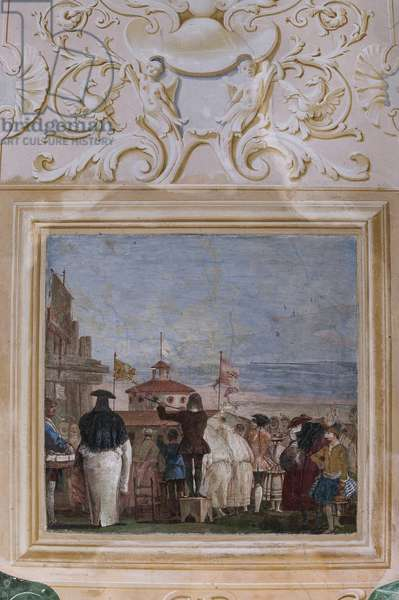 """Guest Lodgings, the Room of the Carnival Scenes: """"New World"""", a scene with masks imitating an oil paiting, 1757 (fresco)"""