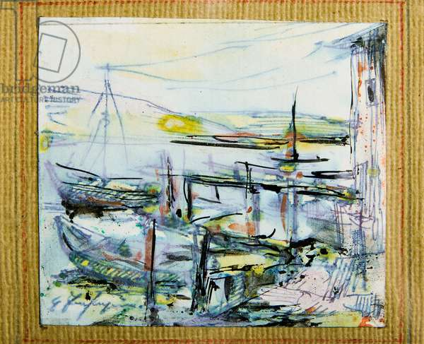 Boats (watercolour and Indian ink drawing)