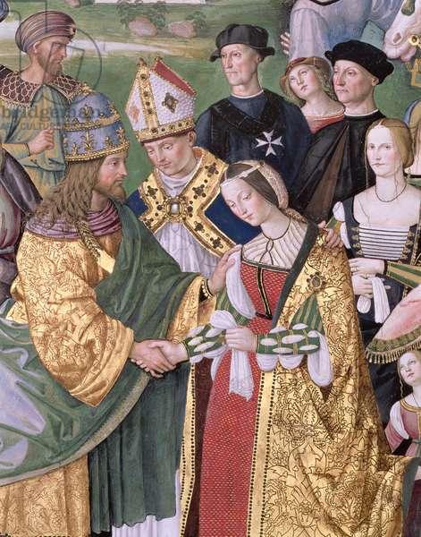 Aeneas Sylvius Piccolomini (1405-64) presents Eleonora of Aragon to Frederick III (1415-93), 1503-08 (fresco) (detail)
