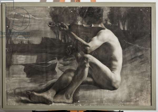 Male Figure, Nude (charcoal on paper)