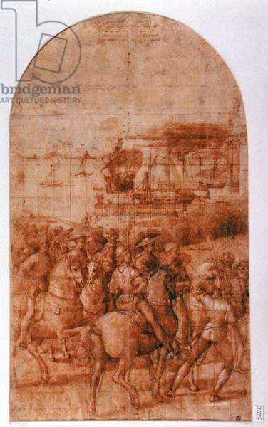 Preparatory cartoon for 'Aeneas Sylvius Piccolomini (1405-64) Journeys to the Council of Basel' (pen and ink on paper)