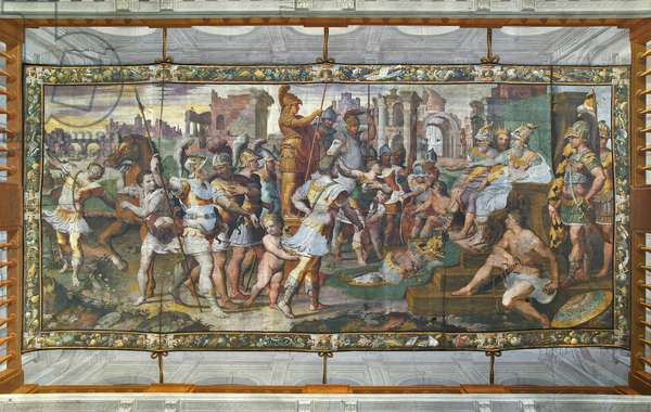 Ulysses and Ajax competing for the armor of Achilles before the courts, Ulysses Hall (fresco)