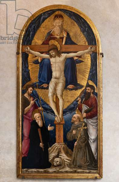 Trinity among St. Benedict, St. Francis of Assisi, St. Bartholew and St. John the Baptist, 1461 (tempera on panel)