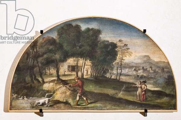 Duck hunting scene, detail of 2384664 (fresco)