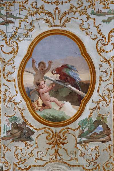"""Guest Lodgings, the Room of the Putti, medallion with putti: """"Two putti and a parrot"""", 1757 (fresco)"""