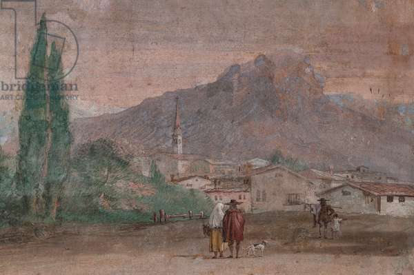"""Palazzina (Small Building): view of the first room and its frescoes representing episodes from the Iliad: """"Cupid with arrows flying over a Venetian landscape"""", detail regarding the landscape, 1756-57 (detail)"""