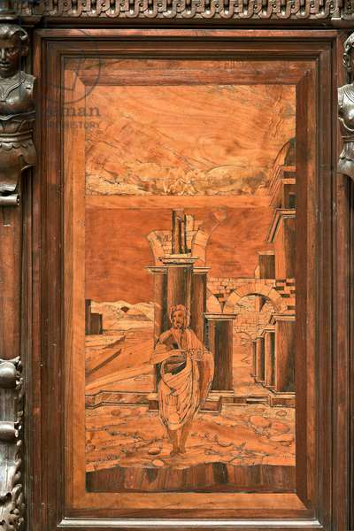 """Genoa, Duomo (St Lawrence Cathedral), inside, apse, choir, North side: """"The Baptist in the wilderness"""", wood intarsia by Giovanni Francesco Zambelli (XVI century)"""
