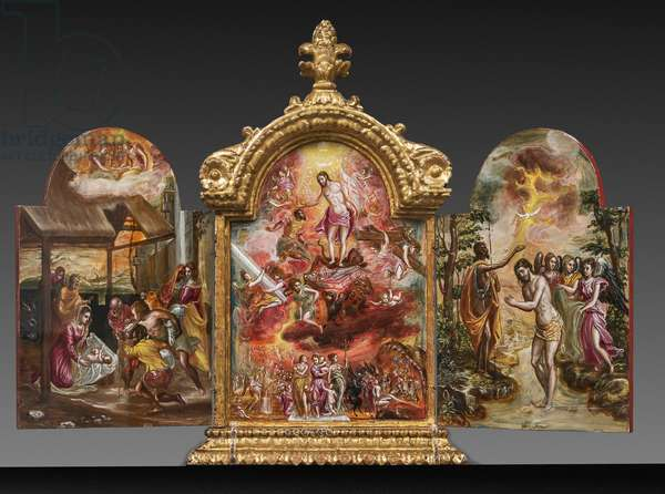 Portable altar front side: the Adoration of the shepherds, the Allegory of the Christian Knight and the Baptism of Christ (tempera grassa on panel)
