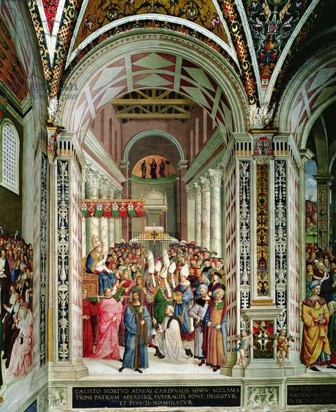 Aeneas Sylvius Piccolomini (1405-64), Elected Pope with the Name of Pius II, Enters St. Peter's, 3rd September 1458, 1503-08 (fresco)