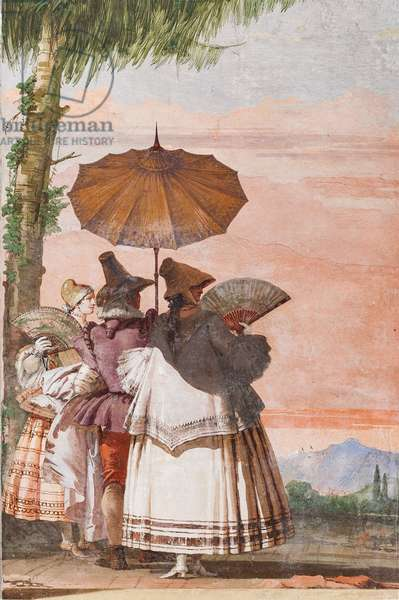 """Guest Lodgings, Room of the False Gothic Architectures: """" A Summer Walk"""", 1757 (fresco)"""