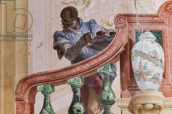 """Guest Lodgings, the Room of the Carnival Scenes: """"Moor Servant on a False Staircase"""", detail, 1757 (fresco) Detail."""