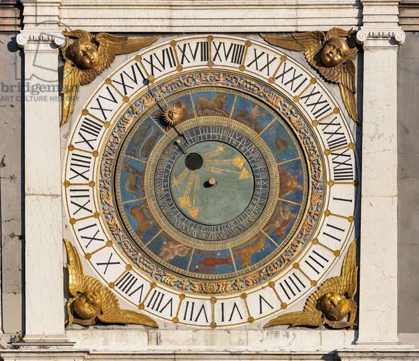 The astronomical quadrant with concentric rings, decorated in gold and blue and with symbols of the Zodiacal signs, 1540-50, Piazza della Loggia, Brescia, Italy