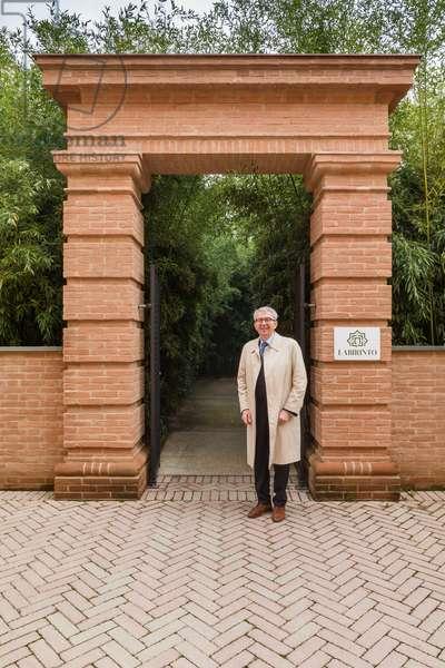Fontanellato, Labirinto della Masone, by Franco Maria Ricci: the architect Pier Carlo Bontempi before the entrance of the Labyrinth of Bamboo plants,  (photo)