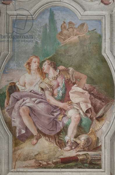 """Palazzina (Small Building): view of the fourth room or of Torquato Tasso, with freescoes representing episodes of """"Jerusalem Delivered"""": """"Rinaldo and Armida in the enchanted garden, secretely observed by Ubaldo and Carlo"""", 1756-57 (fresco)"""