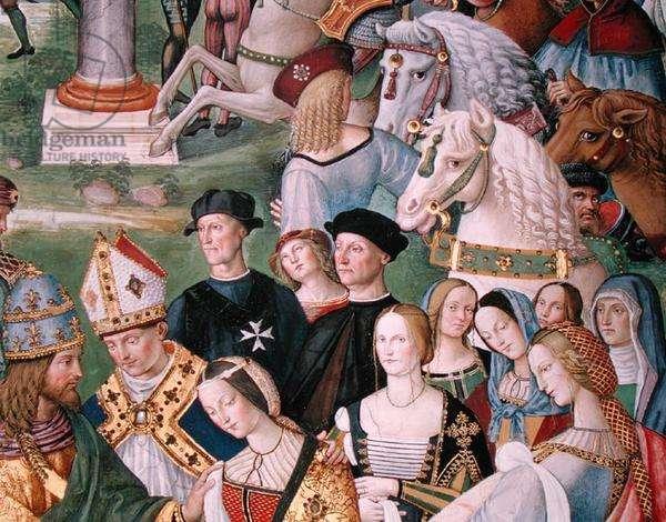 Aeneas Sylvius Piccolomini (1405-64) Presents Eleonora of Aragon to Frederick III (1415-93) on 24th February 1452 (fresco) (detail)