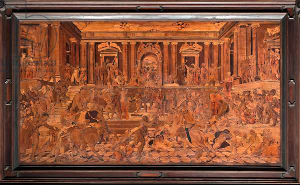 """Genoa, Duomo (St Lawrence Cathedral), inside, apse, choir, South side: """"The Massacre of Innocents"""", wood intarsia by Giovanni Francesco Zambelli (XVI century)"""