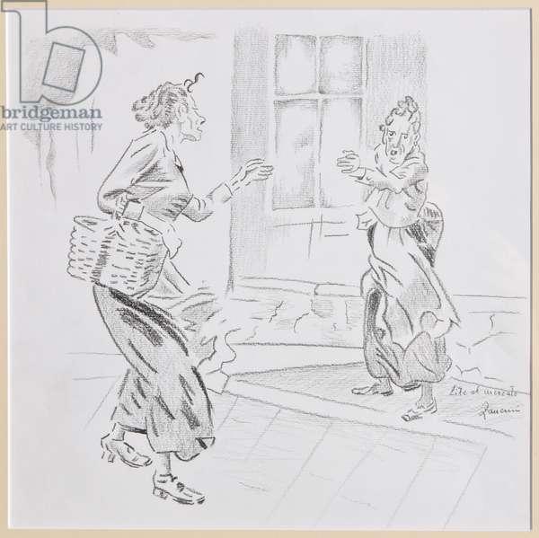 Quarrel at the market (pencil on paper)
