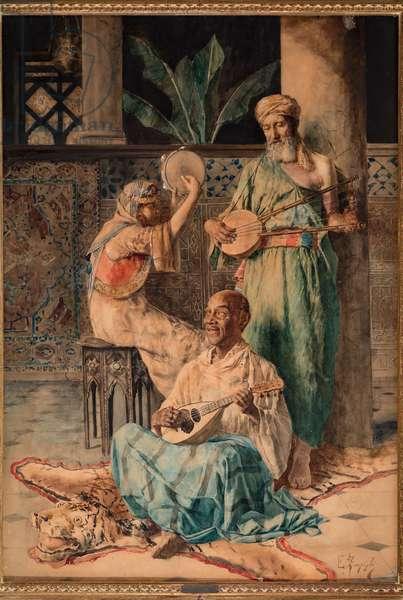 Three Oriental Music Players (tempera on paper)