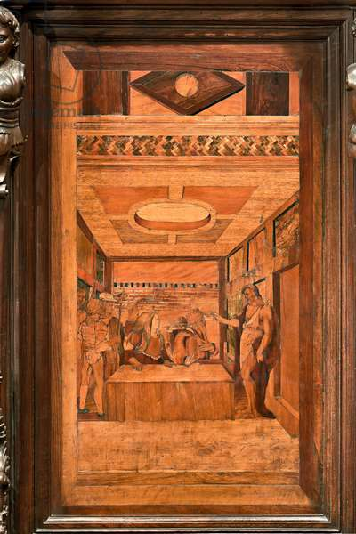 """Genoa, Duomo (St Lawrence Cathedral), inside, apse, choir, North side: """"The Baptist reproves Herod"""", wood intarsia by Giovanni Francesco Zambelli (XVI century)"""