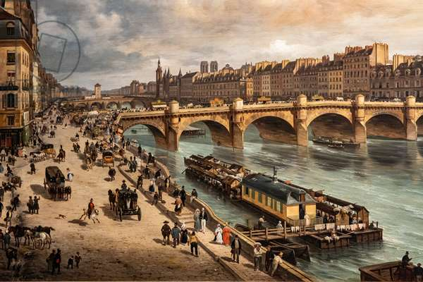 View of the Cité and the Pont Neuf from the Quai du Louvre, 1832 (oil on canvas)