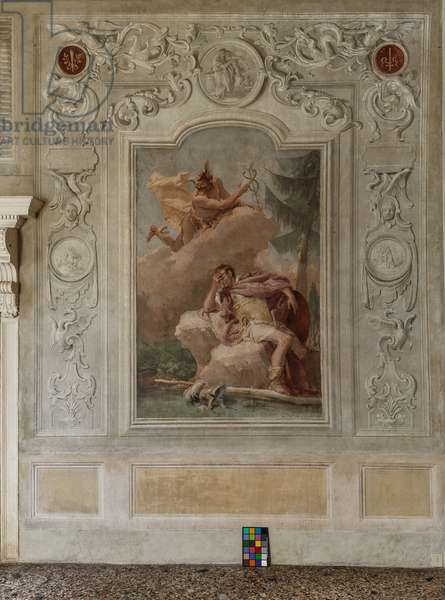 """Palazzina (Small Building), the third room or room of the Aeneid: """"Aeneas dreams of Mercury who orders him to leave"""", 1756-57 (fresco)"""