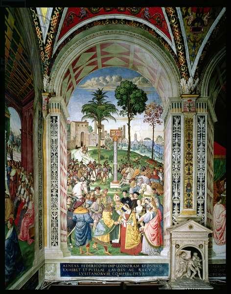 Aeneas Sylvius Piccolomini (1405-64) Presents Eleonora of Aragon to Frederick III (1415-93) on 24th February 1452 (fresco)
