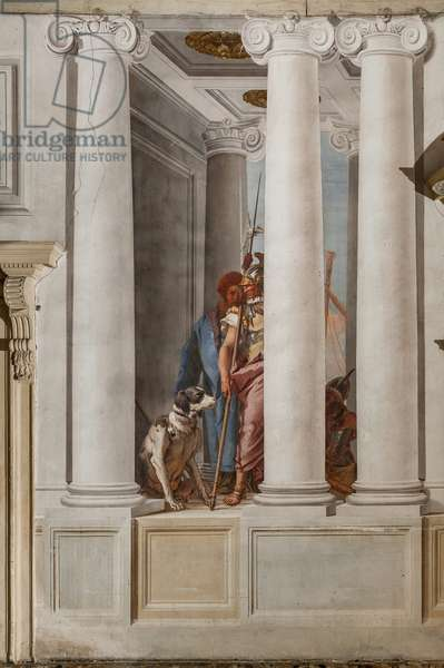 """Palazzina (Small Building), the entrance hall: """"The Greek Fleet in Aulide"""", detail representing a dog and a soldier, 1757"""