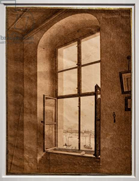 View from the artist's studio, window on the left, 1805-06 (graphite and sepia on paper)