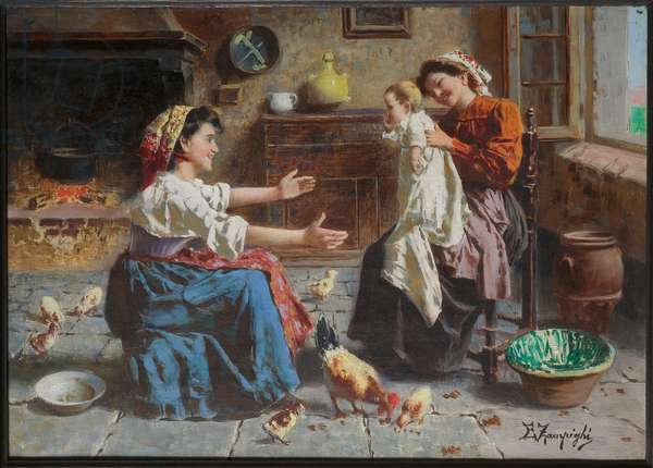 Two Women's Meeting and a Baby (oil on canvas)