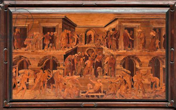 """Genoa, Duomo (St Lawrence Cathedral), inside, apse, choir, North side: """"The martyrdom of St Lawrence"""", wood intarsia by Giovanni Francesco Zambelli (XVI century)"""