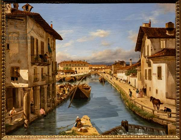 View of the Naviglio Canal from the bridge of St. Mark, c.1850 (oil on canvas)